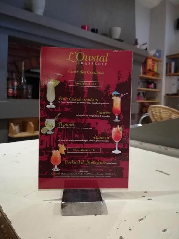 Carte cocktails-Brasserie L'Oustal-Conseil Mkg