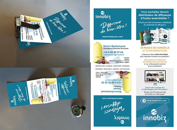 Carte de visite pliée-Objet pub Innobiz-Conseil Mkg